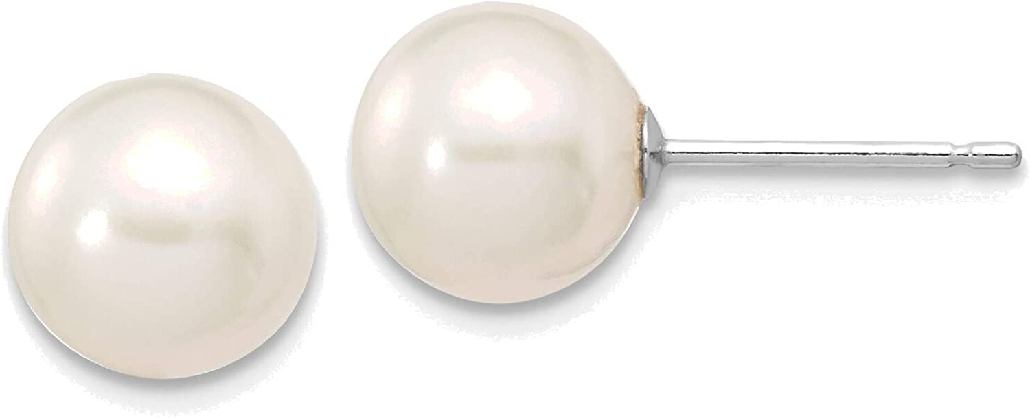 14kt White Gold 7-8mm White Round Freshwater Cultured Pearl Stud Post Earrings