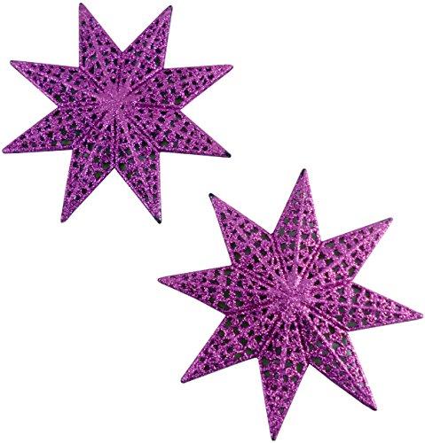 PMS Confezione da 2 Stelle filigrana Glitter Rosa 15cm - Decorazioni per Alberi di Natale
