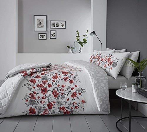 Blumenmuster Aquarell Stil Rot Baumwollgemisch Breites Doppelbett ( Plain Weiß Passendes Leintuch - 180 X 200CM + 25) Plain Weiß Hausfrau Kopfkissenbezüge 6 Stück Bettwäsche Set