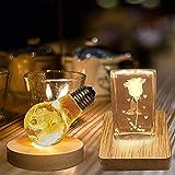 CDIYTOOL Base de exhibición, paquete de 2 luces LED de madera...