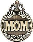 HGDH Cadena de Reloj de Bolsillo Palabras conmemorativas Mamá Serie de Bolsillo Reloj para Femenino Moda Bronce Colgante Reloj Cadena de Enlace para Señora para Hombres Mujeres Regalo