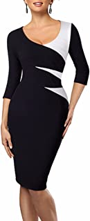 Samtree Women's Patchwork Bodycon Wear to Work Office Cocktail Party Pencil Dress