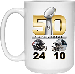 Denver Broncos Coffee Mug Super Bowl 50 Final Score 15 oz White Ceramic Cup Great for Tea and Hot Chocolate L 50 NFL NFC AFC Football Perfect Unique Gift for any Broncos Fan