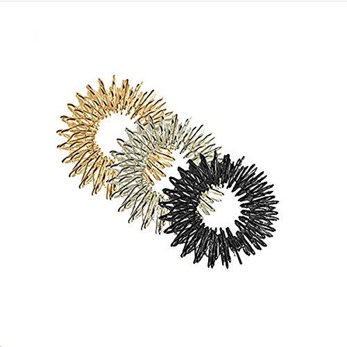 Healifty Akupressur Ring Massage Ring 3 Stück Akupressur Massage Ringe (Gold + Silber + Schwarz)