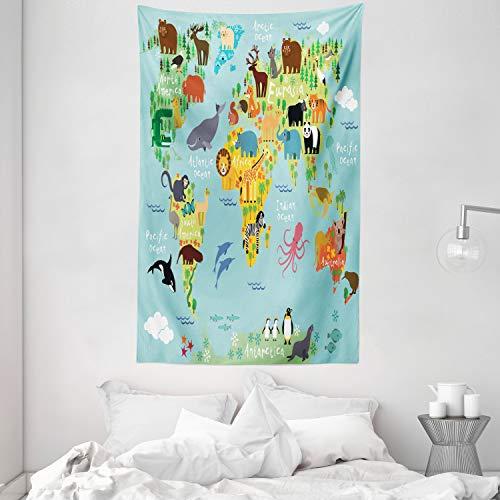 ABAKUHAUS Viajeros Tapiz de Pared y Cubrecama Suave, Animal Mapa del Mundo para Niños Dibujos Infantil Montaña Bosque, Resistente a la Suciedad, 140 x 230 cm, Verde Amarillento