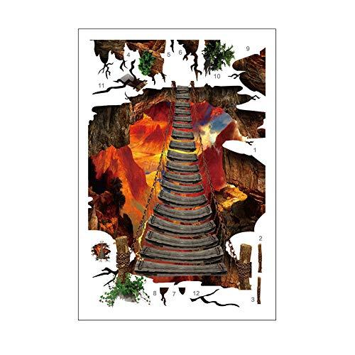Lumanuby 1x 3D Dekorativer Aufkleber von Hängebrücke über Vulkan Von der zerbrochenen Fußboden Abnehmbarer Wall Decal für Fußboden von Wohnzimmer oder Badezimmer, Wandtattoo Serie Size 85x90cm
