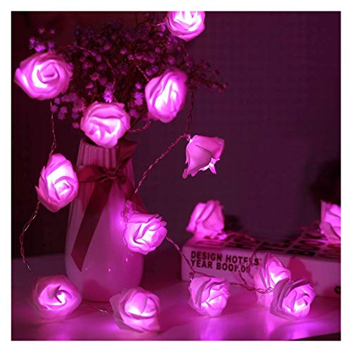 xiaofeng214 Corona de 2 m / 3 m para decoración de bodas y San Valentín, ramo de flores artificiales, luces hadas (Color de emisión: rosa caliente, potencia: 2 m, 10 ledes).