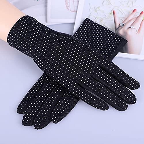 Mode Damen Sommer Baumwolle Handschuhe Einfarbig Print Dot Atmungsaktiv rutschfeste Sonnenschutz UV Touchscreen Fahrhandschuhe für Frauen-Dot Black-One Size