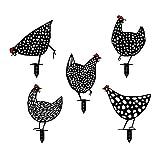 Chicken Yard Art Gartenschilder - Gartenfigur Metall Huhn Deko Handarbeit Gartendeko Gartenstatuen,Outdoor Garten Hinterhof Rasen Pfähle Metall Hen Yard Dekor Geschenk (5 Pack)