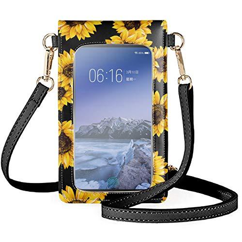 KUIFORTI Bolso cruzado único con pantalla táctil para teléfono móvil, mini cartera, para mujeres, niñas, bolsa de ocio con correa ajustable, amarillo (Girasol), Talla única