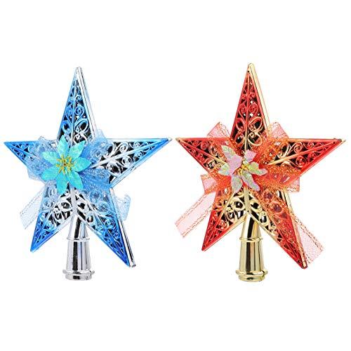 ABOOFAN 2pcs Christmas Tree Topper Star Treetop Finial Xmas Tree Star Decoration Hollow Pentagram Flower Ribbon Tree Topper Holiday Party Ornaments (Random Color) 20x20x2cm