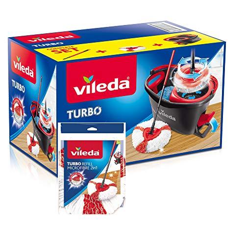 Vileda Turbo - Juego de fregona con palo telescópico, cubo escurridor giratorio y recambio de microfibras, color negro y rojo, 48.6 x 29.6 x 29.3 cm