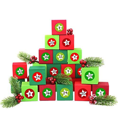 Papierdrachen 24 cajitas de Calendario de Adviento - con Pegatinas de números- 24 Cajas de Colores para Rellenar - Motivos Rojo y Verde