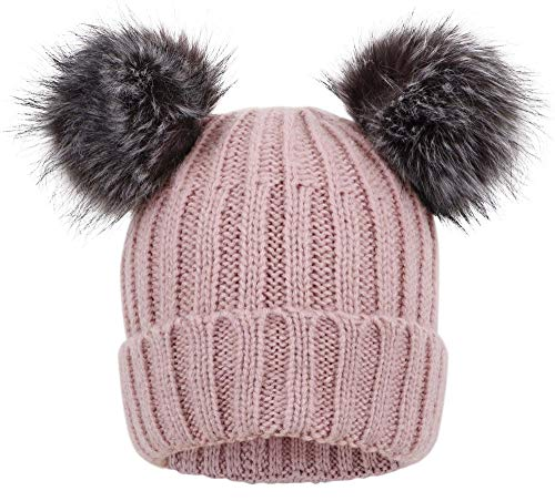 Arctic Paw Womens Winter Hats Cable Knit Beanie with Faux Fur Pompom Ears Pink