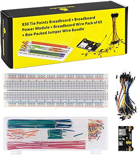 KEYESTUDIO Electronics Component Kit w/Power Supply Module, Jumper Wire, 830 tie-points Breadboard for Arduino MEGA2560 R3 and Raspberry Pi
