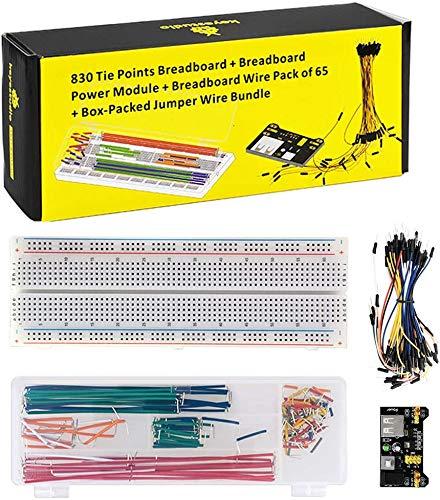 KEYESTUDIO Starter Kit MB 102 Breadboard Kit 830 Breadboard/Steckbrett, 65pcs Steckbrücken, 140 STK Jumper Wire für Arduino Mega2560 R3 Raspberry Pi Project
