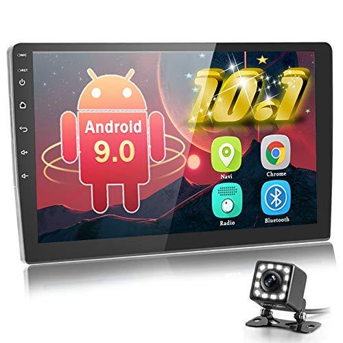 Autoradio Android da 10,1 pollici Doppio Din indash Navigazione GPS Touchscreen Autoradio Supporto Bluetooth/Wifi/Microfono/Mirror Link/Controllo del volante con telecamera di backup