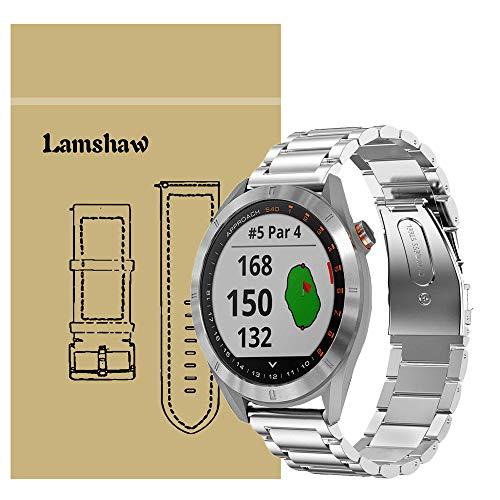 Lamshaw Garmin Approach S40 バンド, ステンレス メタル ベルト 交換バンド 対応 Garmin Approach S40 (シルバー)