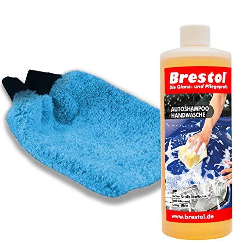 Brestol Autoshampoo Handwäsche SET1 1000 ml Konzentrat + Waschhandschuh - Autowäsche Abperleffekt Abperl-Effekt Foam Master Schaumsprüher Schaumsprühgerät