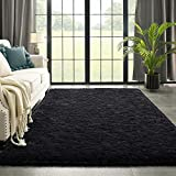 Black Area Rug for Bedroom Living Room Carpet Home Decor, Kimicole Upgraded 4x5.9 Cute Fluffy Rug for Apartment Dorm Room Essentials for Teen Girls Kids, Shag Nursery Rugs for Baby Room Decorations