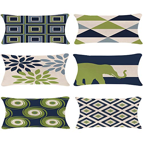 Decorative Throw Pillow Covers 12 x 20 Inch Double Side Design,ZUEXT Set of 6 Geometric Cotton Linen Indoor Outdoor Pillow Case Cushion Cover for Car Sofa Home Decor(Navy Pear Green New Living Series)