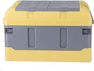 Faltbarer Kofferraum Organizer, praktischer Kofferraum Organizer mit Deckel, 45 l, faltbar, Kunststoff, für Zuhause, Auto, 60 kg Tragkraft, Organizer, hohe Abdeckung, zwei Fächer (gelb)