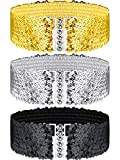 3 Pieces Sequin Belt for 70s 80s Costume Party, Disco Party Costume Wide Waist Elastic Cinch Belt Cheerleader Stretchy Belt for Women Girl Metal Buckle Glitter (Gold Silver Black)