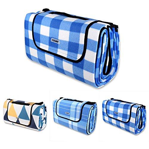 Schramm® Picknickdecke faltbar mit Tragegriff aus Fleece 2 x 2m Picknickdecken Outdoordecke wasserfeste Unterseite, Farbe:blau oder gelb kariert