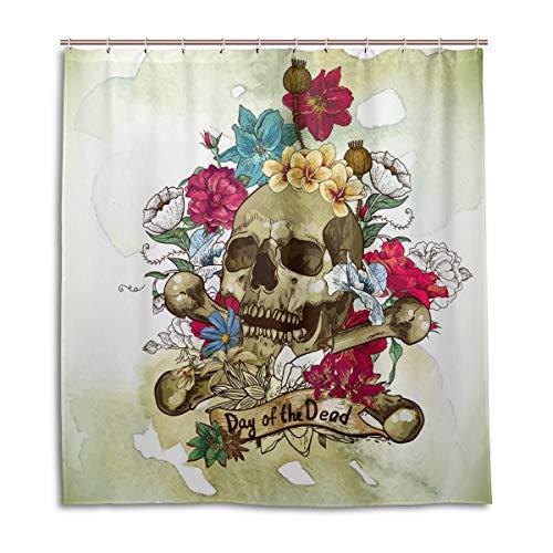 CPYang Duschvorhänge Vintage Tag der Toten Schädel Wasserdicht Schimmelresistent Bad Vorhang Badezimmer Home Decor 168 x 182 cm mit 12 Haken