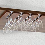 ワイングラスホルダー 吊り下げ 10インチ 木製 ダークブラウン 4連タイプ 4列タイプ