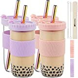 Reusable Boba Cup Bubble Tea Cup 4 Pack, 24Oz Wide Mouth Smoothie Cups with Lid, Silicone Sleeve & Angled Wide Straws, Leakproof Glass Mason Jars Drinking Water Bottle Travel Tumbler for Large Pearl