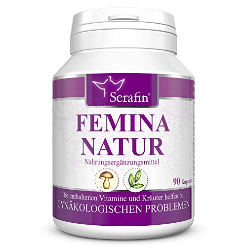 Serafin Femina Natur Naturkapseln – Gynäkologische Probleme – 90 Kapseln – Katzenkralle, Frauenmantel, Cordyceps, Vitamin B6, Vitamin B1, Vitamin E – ideale Unterstützung bei Regelbeschwerden
