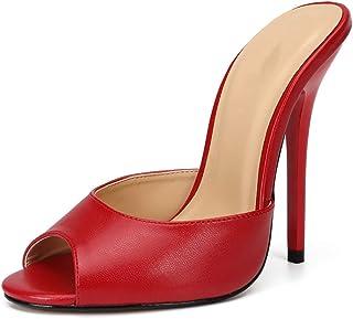 Stiletto Sandalen Voor Dames, Grote Hak 13 Cm Hoge Vismond Sexy Pantoffels Met Hoge Hakken Er Zijn 3 Stofopties Antislip E...