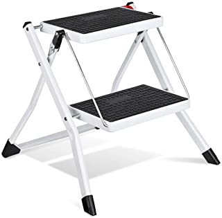 Delxo 2 Step Stool Stepladders Lightweight White Folding Step Ladder with Handgrip Anti-Slip Sturdy and Wide Pedal Steel L...