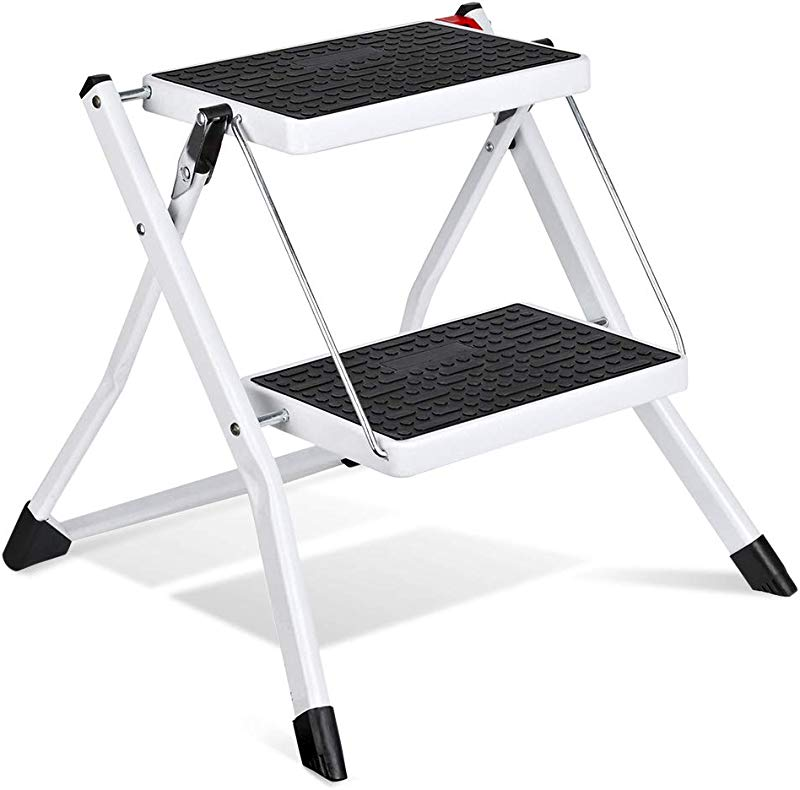 Delxo 2 Step Stool Stepladders Lightweight White Folding Step Ladder With Handgrip Anti Slip Sturdy And Wide Pedal Steel Ladder Mini Stool 250lbs 2 Feet