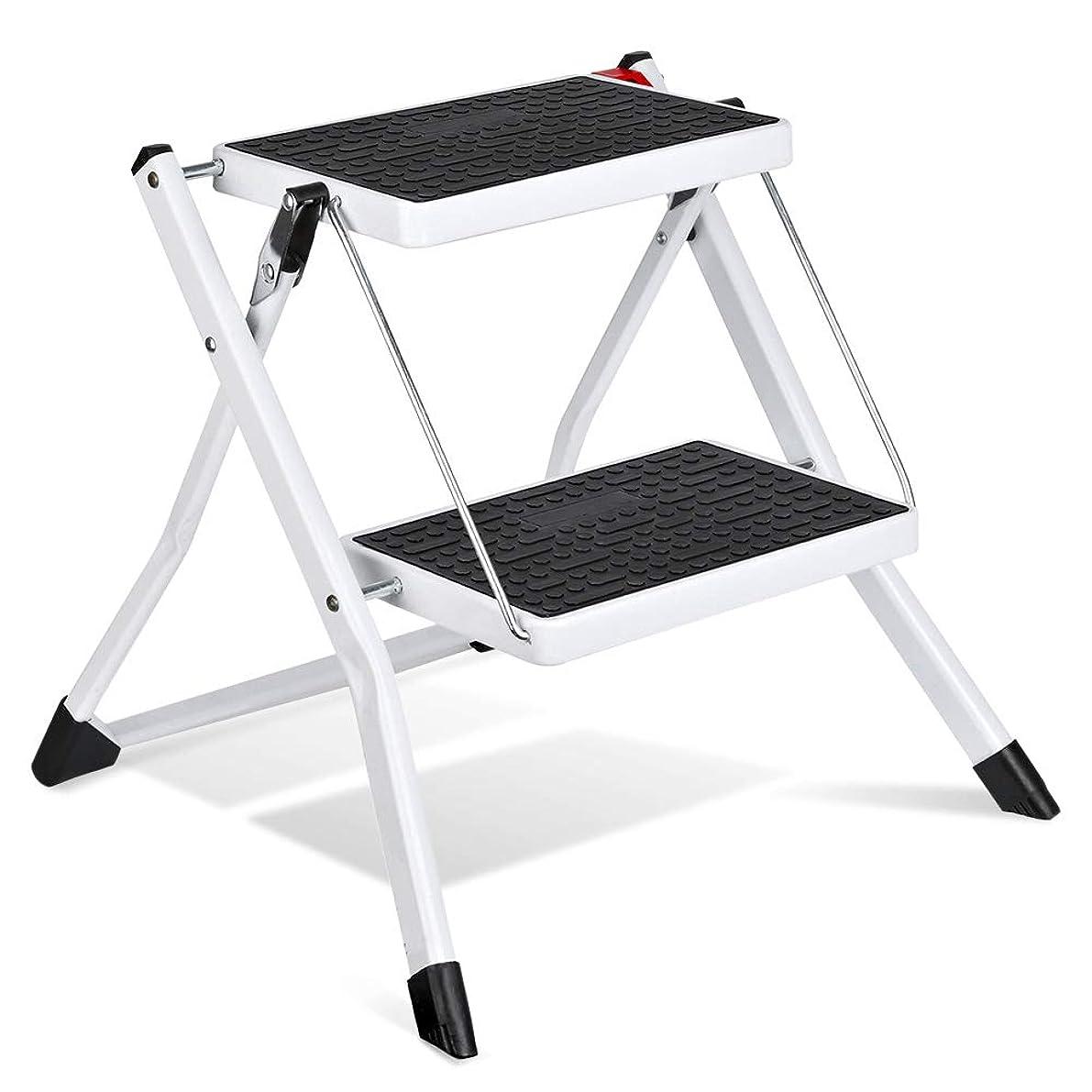 Delxo Step Stool Stepladders Lightweight White Folding Step Ladder with Handgrip Anti-Slip Sturdy and Wide Pedal Steel Ladder Mini-Stool 250lbs 2-Feet (WK2031D)