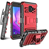 for Galaxy J2 Case, Galaxy J2 Core / J2 Dash / J2 Pure / J260 Case, Zectoo Heavy Duty Shockproof Full Body Rugged Holster Armor Hybrid Case Cover with Swivel Belt Clip & Kickstand - Red