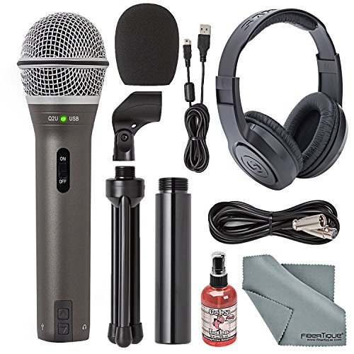 Samson Q2U Handheld Dynamic USB Microphone Recording and Podcasting Kit + Accessory Bundle