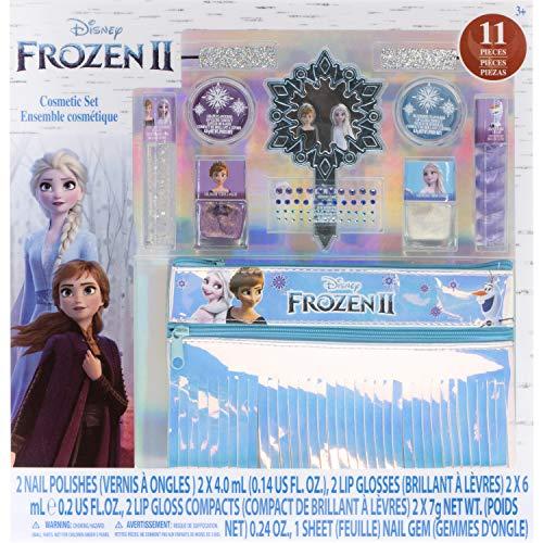 Disney Frozen - Townley Girl Ensemble de maquillage avec 11 pièces, y compris un brillant à lèvres, un vernis à ongles, un miroir et un sac à franges holographique, à partir de 3 ans