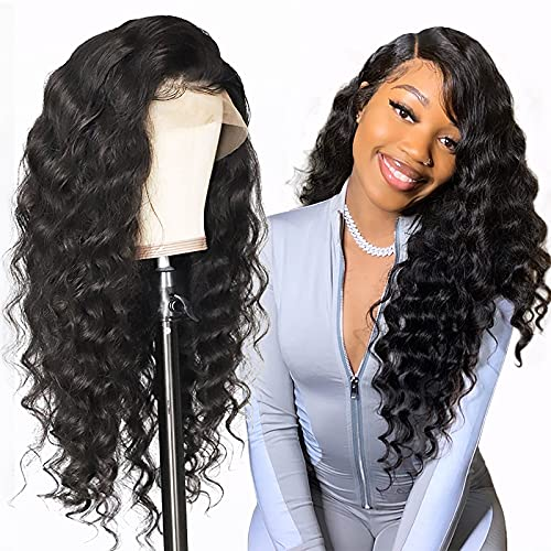 Allove Loose Deep Lace Front Wigs Human Hair with Baby Hair 20inch Brazilian Virgin Remy Human Hair Wigs for Black Women 10A 150% Density 4x4 Lace Closure Wigs Pre Plucked Hairline Natural Color
