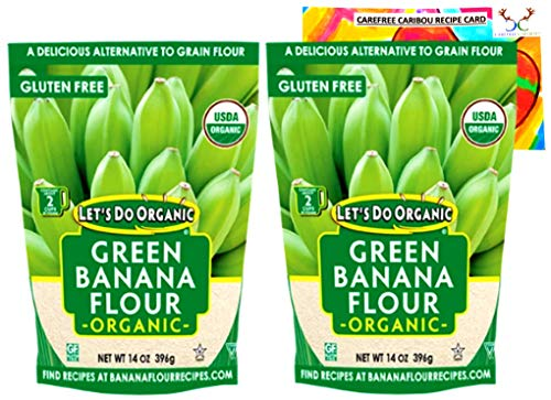 Let's Do Organic Green Banana Flour Bundle. Includes Two (2) 14oz Packages of Let's Do Organic Green Banana Flour and a Green Banana Flour Recipe Card from Carefree Caribou! All Natural & Gluten Free!