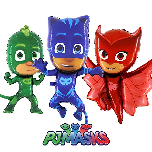 Pyjamahelden PJ Masks Folienballon Figuren 3er Pack mit Eulette, Gekko & Catboy - Geschenk Ballon Luftballon Jahrmarkt Kirmes Rummel