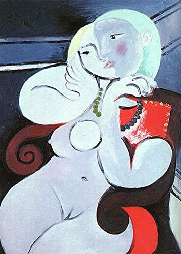 Famosa pintura de Picasso'Desnudo femenino sentado en un sillón rojo' 5D DIY kit de pintura de diamantes art deco ronda pintura de diamantes diamante completo-Los 70x90CM