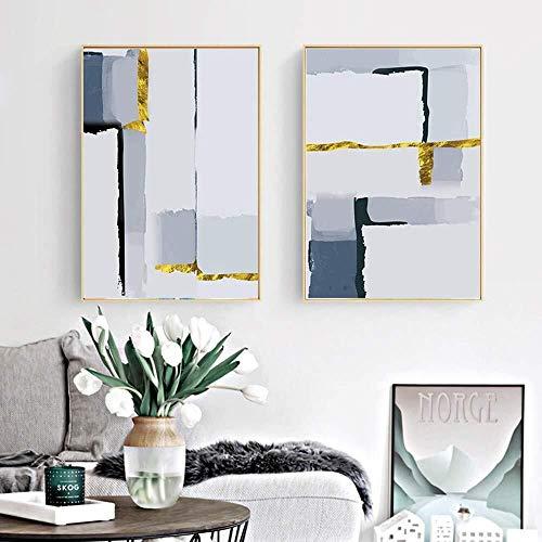 YUQIYU Aceite De Sala De Estar TV Fondo De La Pared De La Lona De Material De Pintura Decorativa Abstracta Blanco Dos Colgantes Pintura Decorativa Pintura Mural Tamaño Porche 30 * 40cm, 40 * 50 Cm, 50