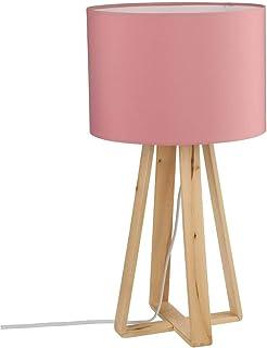 3102756088f3 Lámpara de mesa con pie de madera natural, pantalla de color ROSA