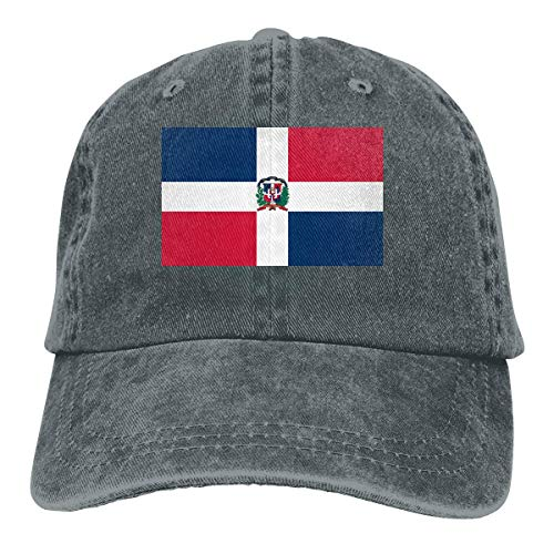 wwoman Gorra de bisbol Unisex de Adultos con Lavado Vintage Gorra Ajustable para pap - Repblica Dominicana Bandera Negro