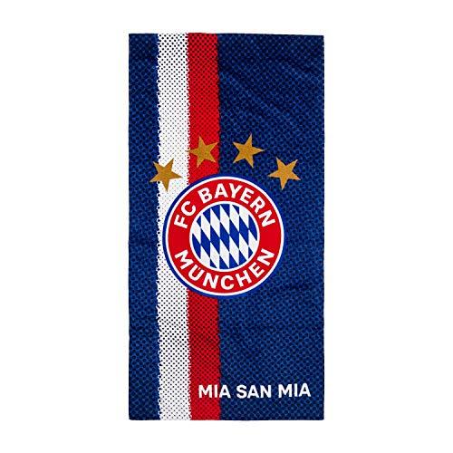 FC Bayern München Strandtuch Navy - MIA SAN MIA - Badetuch, Duschtuch, Handtuch FCB