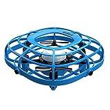 SunYueY Mini Drone UFO Control De Detección Infrarroja Mano Flying Aircraft Quadcopter Kids Toy, Intelectual Toy Gift Set Azul