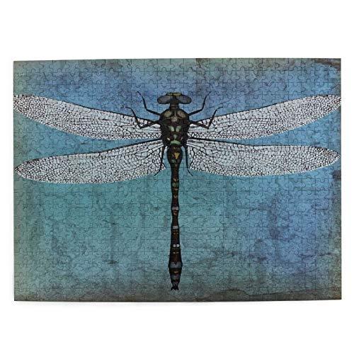 DAHALLAR Mittlere Größe Jigsaw-Puzzles 500 Stücke,Grunge Vintage Old Backdrop und Libelle Bug Ombre, Lustig Familienspiel Hängende Heimdekoration,20.4' x 15'