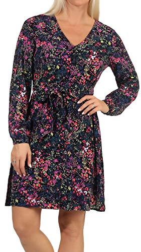 VERO MODA Damen Viskose Kleid VMWippa Langarm, mit Blumen-Druck 10247794 Black AOP: Black M